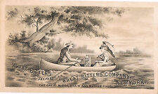 Man & Woman & Bottle Of Wheat Bitters In Rowboat ~ Victorian Trade Card Medicine