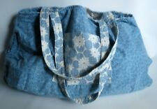 Beautiful Patchwork Quilted Hand Made Tote Bag Blue,White Reversible Cotton