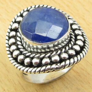 925 Silver Plated SIMULATED BLUE SAPPHIRE Ring Size 5.75 BEAUTIFUL Jewelry India
