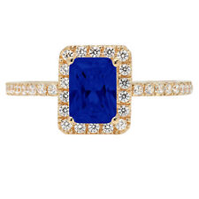 1.85 Emerald Blue Sapphire Promise Bridal Wedding Designer Ring 14k Yellow Gold