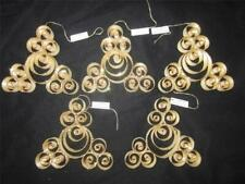 """5 ORNAMENT LOT Shaved WOOD w GOLD GLITTER New w tag  LARGE 5"""" made in AUSTRIA"""