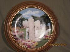 """Vintage Precious Moments Collector Plate """"Thee I Love"""" w/ wooden frame"""