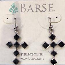 Barse Vintage Southwest Style Sterling Silver Black Onyx Stone Cross Earrings