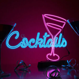 Neon Effect Cocktails Light Sign Electro Luminescent Home Bar Battery Operated
