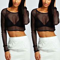 Women Sexy Mesh See Through Sheer Clubwear Party Blouse Fashion T Shirt Crop Top