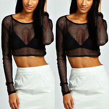 Women Sexy Mesh See Through Sheer Clubwear Party Blouse Fashion T Shirt Crop Top