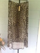 Michael Kors Safari Green Animal Print Maxi Skirt Hi-Lo Stretchy Knit XL NWT$110