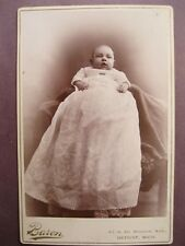 Vintage Cabinet Card Photo Victorian Young Baby by Baron from Detroit, Michigan
