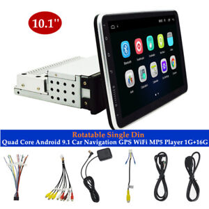 Rotatable 10.1''Android 9.1 1 Din Quad Core Car GPS WiFi GPS MP5 Player 1G+16G