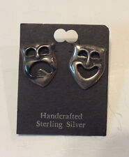 Vintage sterling silver hand crafted earrings,tragedy/comedy masks J370,371,372