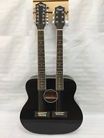 New 6/12 String Acoustic Electric Double Neck Guitar, Black with Case