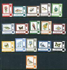 GIBRALTAR 1970 Definitives BIRDS BUTTERFLIES MNH to $2 16 Stamps
