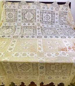 Antique Italian Multi Lace & Linen Tablecloth WW585