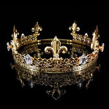Men's Imperial Medieval Fleur De Lis Gold King Crown 19cm-22cm Adjustable 6cm Hi
