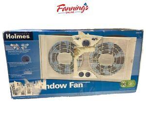 "Opened Holmes Dual 8"" Blade Twin Window Fan with Manual Controls, HAWF2041-N"