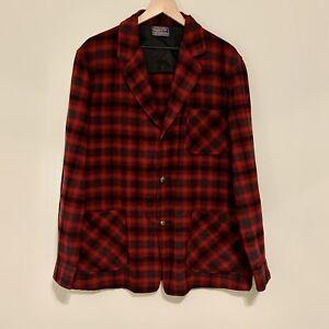 Vintage PENDLETON Men's Sz L Virgin Wool Red Plaid 3 Button Blazer Coat Jacket