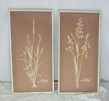 Pair Hand Screened Wall Art Original Schlamp Signed 10 X 20 Pink Sea Grass
