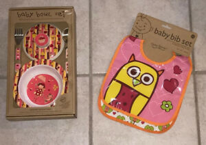 Sugar Booger Baby Bowl Set Suction Bowl Lid, Fork, Spoon & 2-Pack Bib By ORE NIB