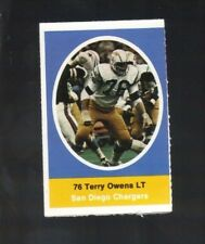 1972 SUNOCO STAMP TERRY OWENS SAN DIEGO CHARGERS