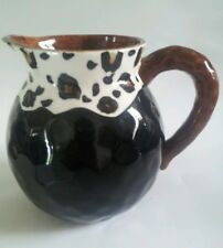 Beautiful Leopard Print Ceramic Decorative Pitcher Dark Brown with Animal Print