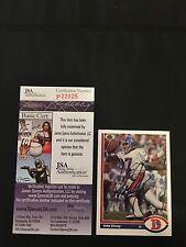 HOF JOHN ELWAY 1991 UPPER DECK SIGNED AUTOGRAPHED CARD #124 BRONCOS JSA CERT