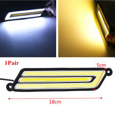 2x Car COB Flexible U Type DRL White/Amber LED Strobe Reverse Parking Fog Light