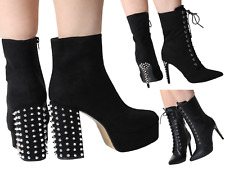 ⭕️ Womans Ankle Black Zip SteamPunk Chunky Boots Platform Laces High Heel Spikes