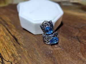 STERLING SILVER & BLUE TOPAZ EARRINGS: GREAT DESIGN: SEE PICS