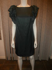 Milly of NY Cotton Silk Blend Ruffled Sleeve Shoulders Petrol Green Dress 4 US