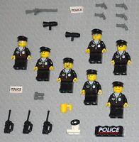 LEGO 7 Police SWAT TEAM Minifigs Lot City Town Guns Lego Minifigures Toys Guys
