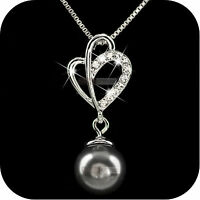 18k white gold gf made with SWAROVSKI crystal pendant black pearl necklace