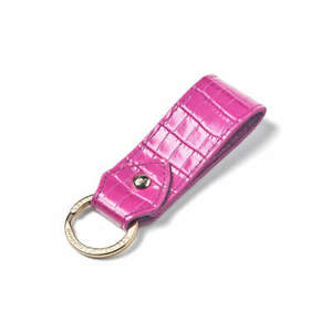 NEW Aspinal of London Leather Keyring Deep Shine Hibiscus Small Croc in Gift Box