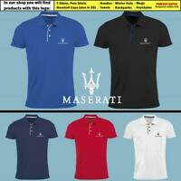 Maserati Slim Fit Polo T Shirt EMBROIDERED Auto Car Logo Tee Gift Mens Clothing