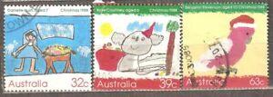 Australia: full set of 3 used stamps, Christmas, 1988, Mi#1135-1137