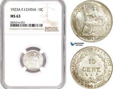 AE112, French Indo-China, 10 Centimes 1923-A, Paris, Silver, NGC MS63