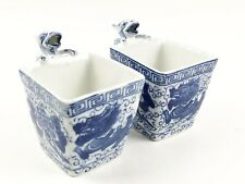 Pair of Vintage Chinese Blue & White Dragon Handles Tea Cups