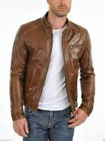Noora Men's Motorcycle Leather Jacket Lambskin Biker Highyway Jacket Slim NI-20