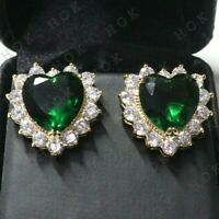 3.50Ct Heart Cut Green Emerald Diamond Halo Stud Earrings 14k Yellow Gold Finish