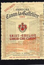 SAINT EMILION GCC ETIQUETTE CHATEAU CANON LA GAFFELIERE 1983 75 CL   §18/04/17§