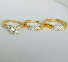 1.35  Round Trio 3 Piece 14K Yellow Gold  Engagement Wedding Band Ring Set S7 10