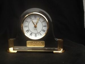 """Elegant Crystal Cathedral Ministries Lucite Mantel Clock ~Works~5-1/2"""" High"""