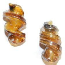 G4498L2 Golden Light Brown Luster Finish 29mm Spiral Lampwork Glass Beads 10pc