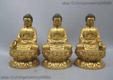 Tibet Pure Bronze 24K Gold Tathagata Amitabha Sakyamuni Buddha Three Rulai Statu