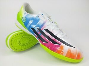 Adidas Mens Rare F10 IN Messi F32677 White Blue Indoor Soccer Shoe Size 9.5