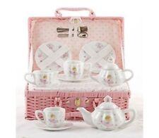 Delton Products Porcelain Tea Set in Basket, Pink Bella Ballerina
