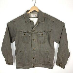 Wrangler Rugged Wear Denim Mens Jean Trucker Jacket Size LT Charcoal Stone Grey