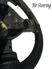 FOR PEUGEOT 306 BLACK PERFORATED LEATHER STEERING WHEEL COVER GREY STITCH