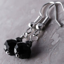 Silver Plated Dangle Fish Hook Earrings Faceted Black Crystal Hematite Ball