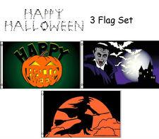3x5 Happy Halloween 3 Flag Wholesale Set #13 3'x5' House Banner Grommets