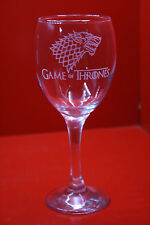 Laser Engraved Wine Glass Game Of Thrones Stark Dire Wolf Design